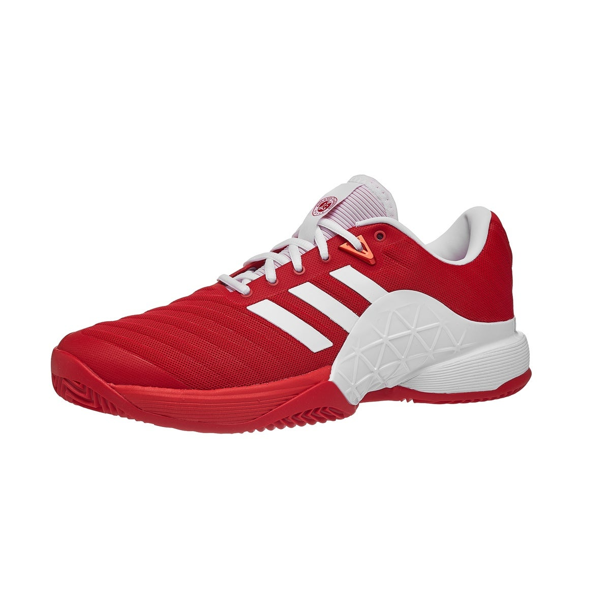 save off a36df 40c4d adidas Barricade 18 CLAY ScarletWhite Mens Shoe 360° View