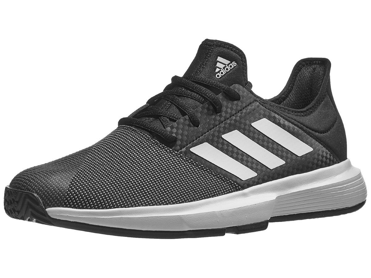 adidas Mens Game Court Tennis Shoes Black Sports Breathable Lightweight