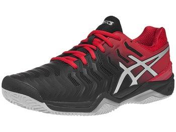 29c9ebab06702 Asics Gel Resolution 7 Clay Black Red Men s Shoes - Tennis Warehouse ...
