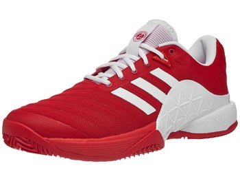 adidas Barricade 18 CLAY Scarlet White Men s Shoe - Tennis Warehouse ... d93cd7dab028a