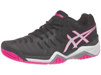 6e30e7dd557c Chaussures Femme Asics Gel Resolution 7 Noir Argent Rose - Tennis ...