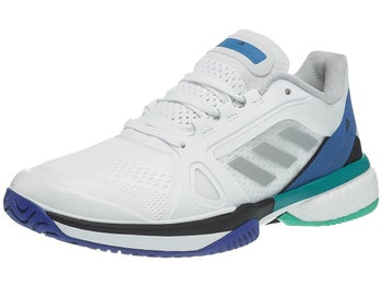85c0fc548f0b9 adidas aSMC Barricade Boost White Blue Women s Shoes - Tennis ...